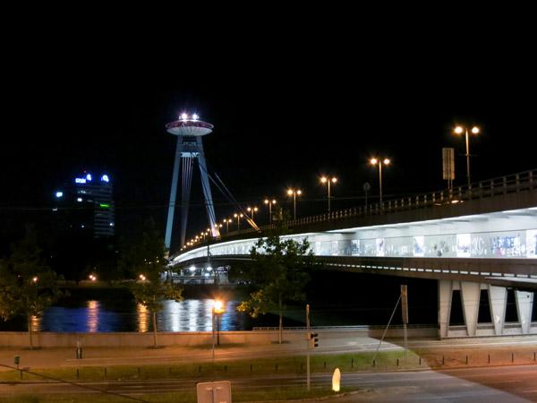 UFO restaurant hovering over the Bridge of the Slovak National Uprising