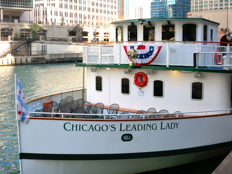 <em>Chicago's Leading Lady</em>, our vessel for the river cruise - Photo by Hideaway Report editor