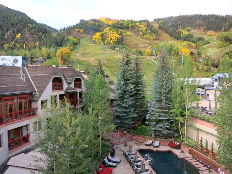 View of the Silver Queen Gondola, and pool at The Little Nell - Photo by Hideaway Report editor