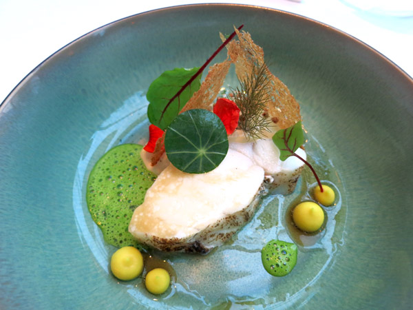 Monkfish with spinach foam, sorrel and miso at Silvio Nickol