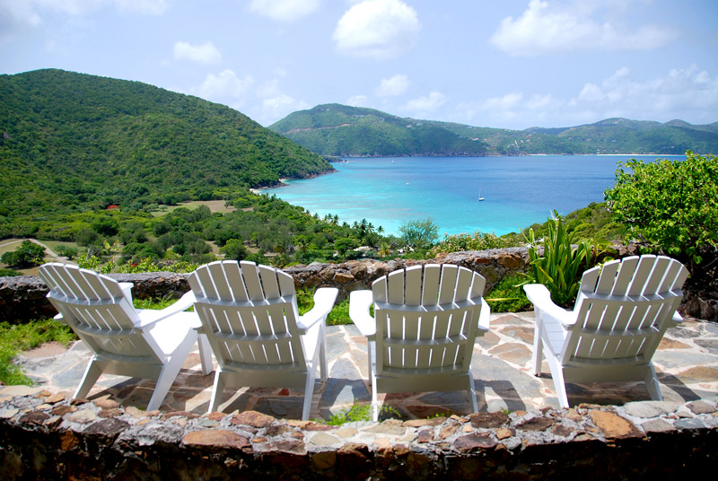 Our terrace at Guana Island