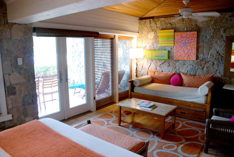 Sitting area of our bedroom at Peter Island