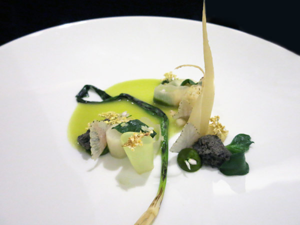Leek and spring onions with green strawberries and elderflowers at Tian