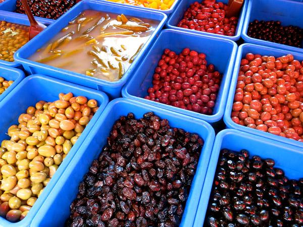 Olives at Carmel Street food market