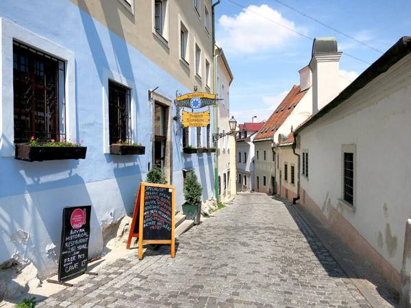 Cobbled street in front of Modrá Hviezda in Bratislava