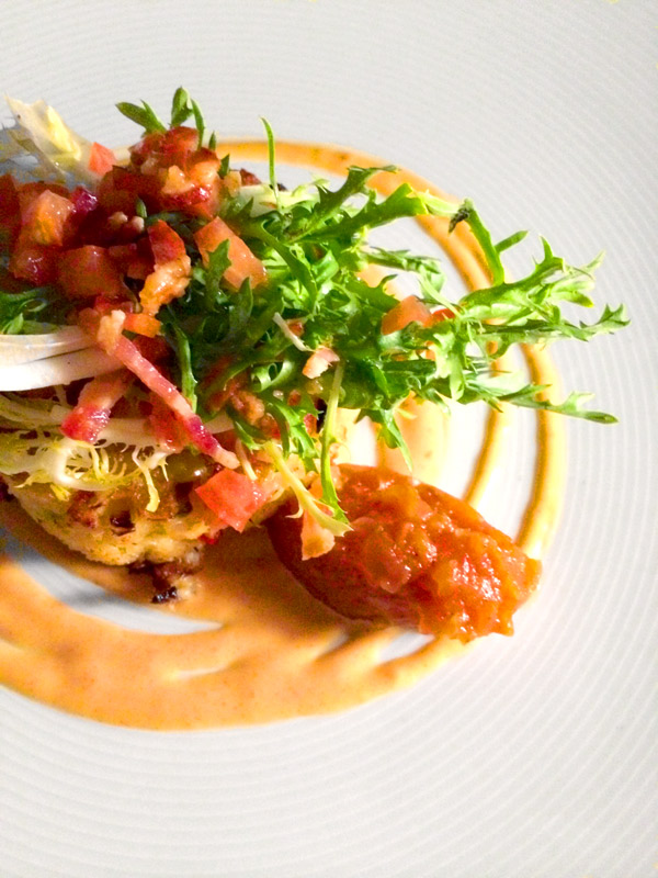 "Crab cake ""BLT"" with tomato relish, smoked bacon and frisee salad at Viceroy Anguilla"