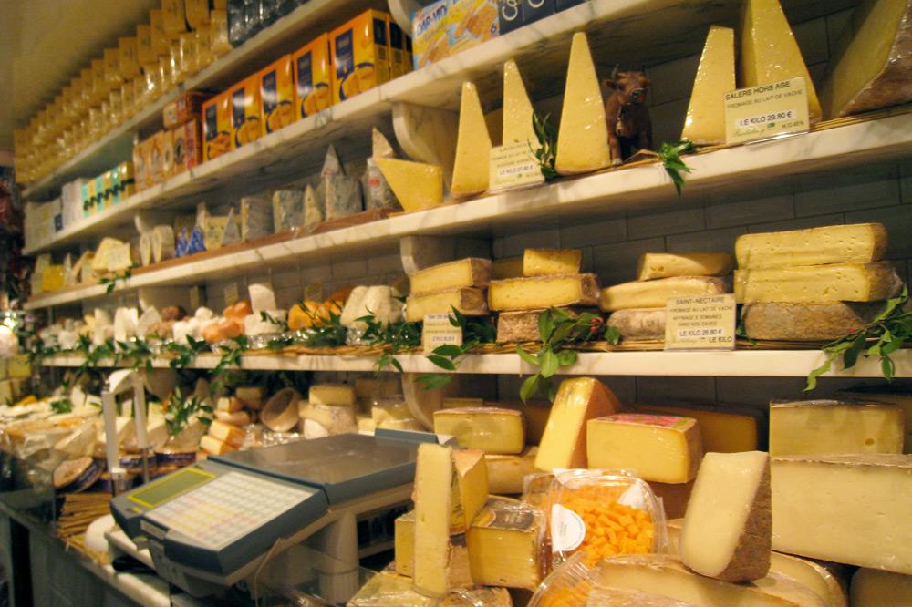Wall of cheeses at Barthélémy, Paris