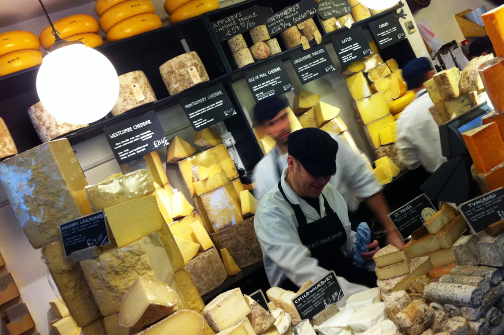 Behind-the-counter action at Neal's Yard Dairy, London