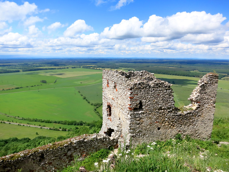 Plavecký Castle commands inspiring panoramas over the Slovak countryside. - Photo by Hideaway Report editor