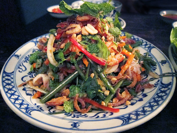 Shrimp and morning glory salad at May restaurant in Saigon - Photo by Hideaway Report editor