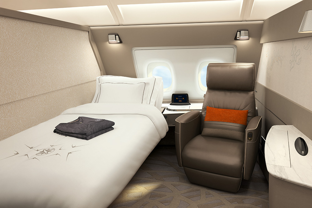 Singapore Airlines' new first-class suite, exclusively on the A380 aircraft