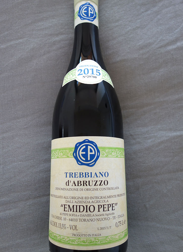 A bottle of Emidio Pepe wine from Torano Nuovo, Italy - Photo by Hideaway Report editor