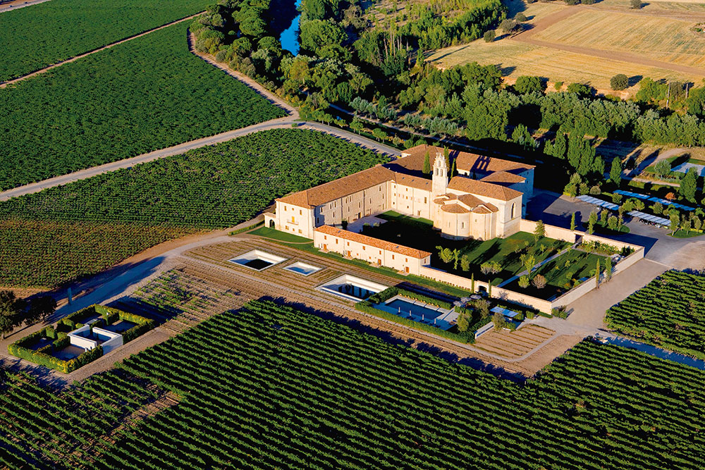 Aerial view of Abadía Retuerta LeDomaine and the surrounding vineyards
