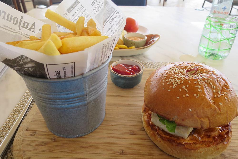 Fish burger at Amanera