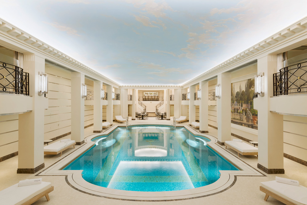 The underground mosaic-tiled swimming pool inside the Ritz Paris, France