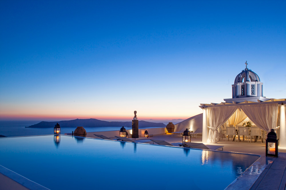 The freshwater pool with sensational panoramic views at the Tsitouras Collection in Santorini, Greece