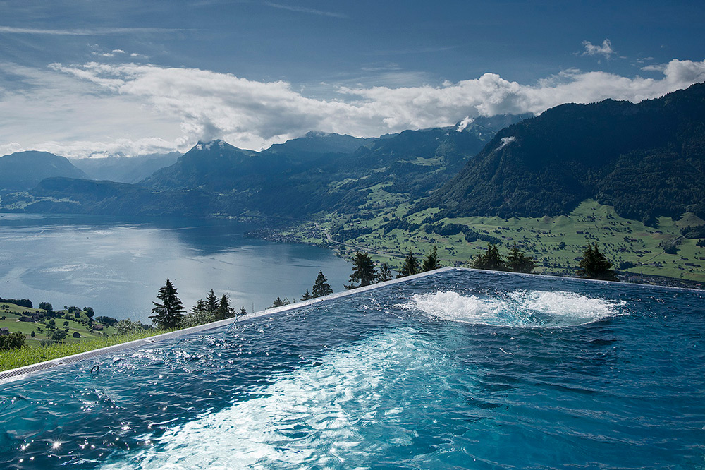 Views from the stunning horizon pool offering unforgettable panoramas of the lake and mountains in Lucerne, Switzerland