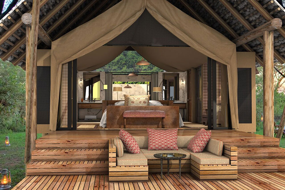 The rendering of a guest tent at &Beyond Bateleur Camp in Maasai Mara National Reserve, Kenya