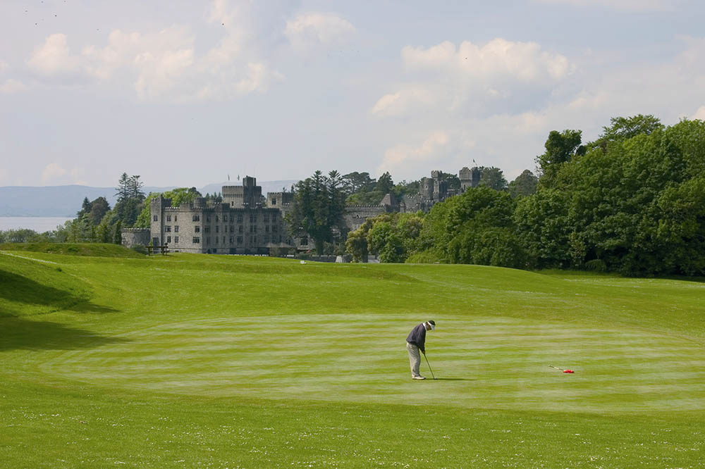 The pin on the third hole at the Ashford Castle course.