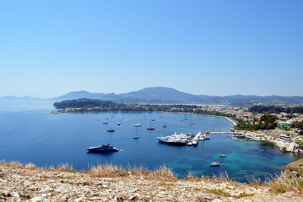 Motor yachts and other boats off the coast of Greece