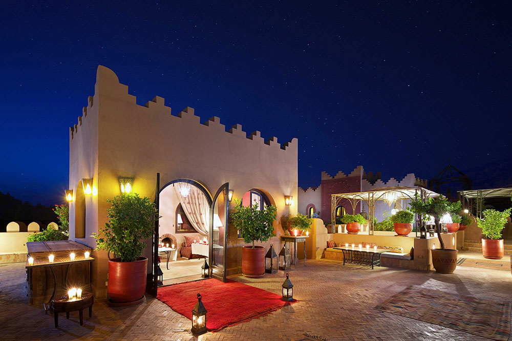 Private dining on a roof terrace at Kasbah Tamadot in Asni, Morocco