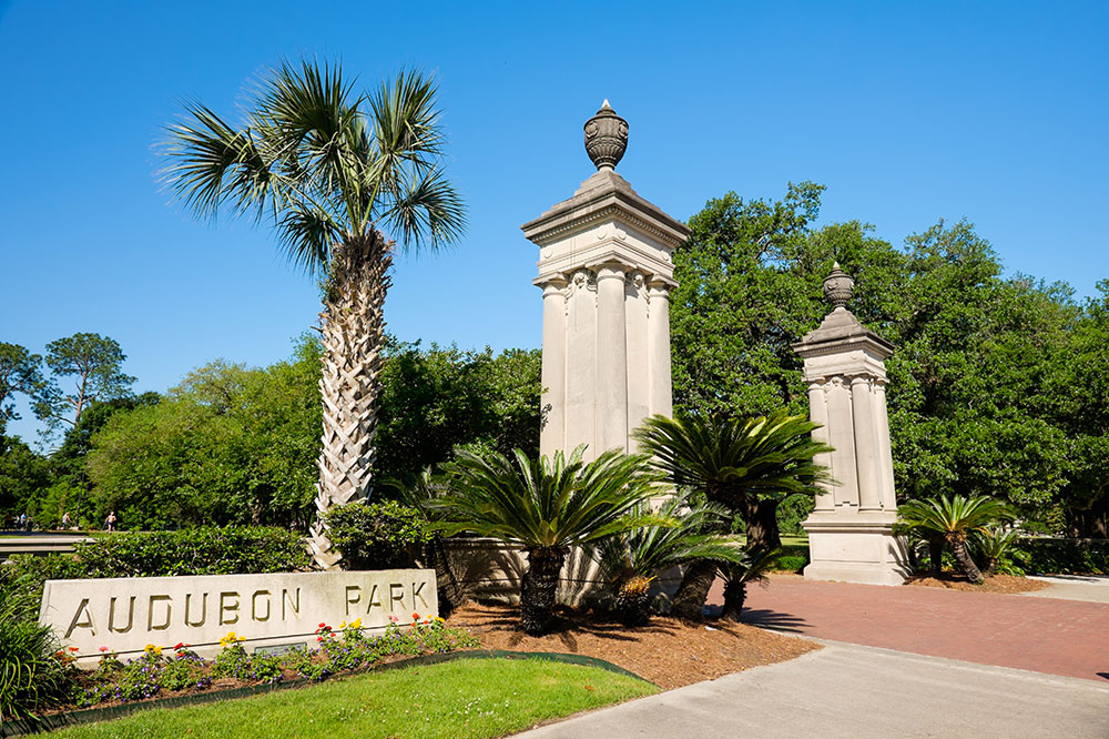 The St. Charles Avenue entrance of Audubon Park