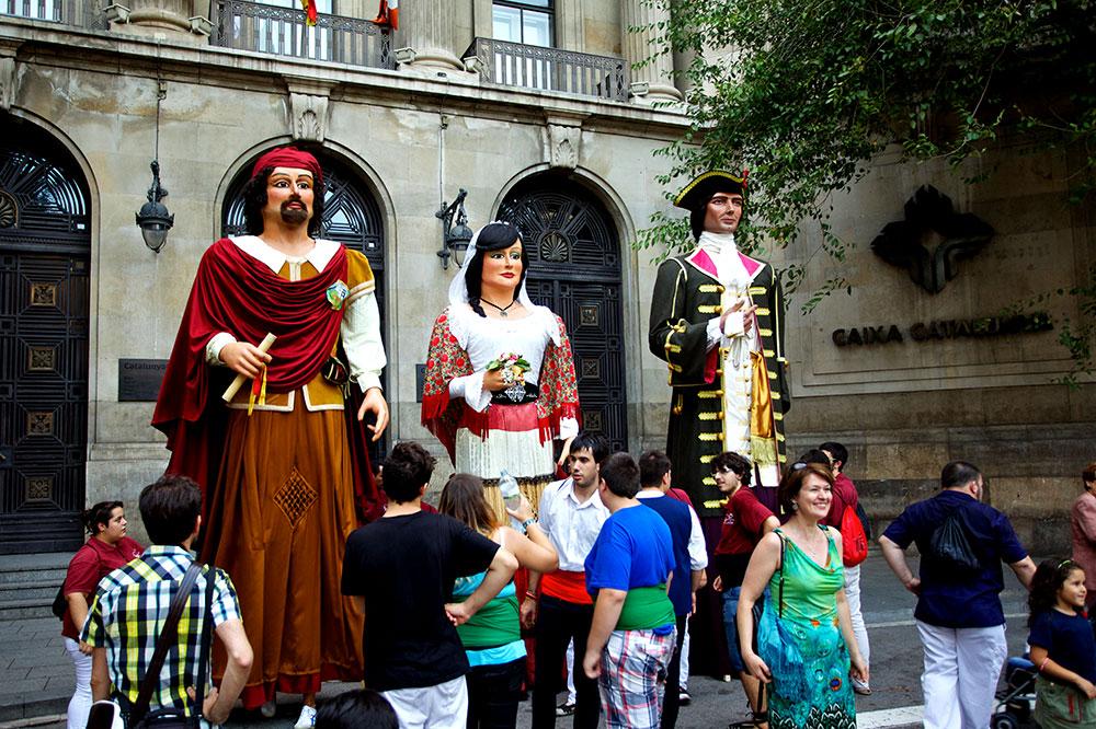 Giant figures created for La Mercè in Barcelona, Spain
