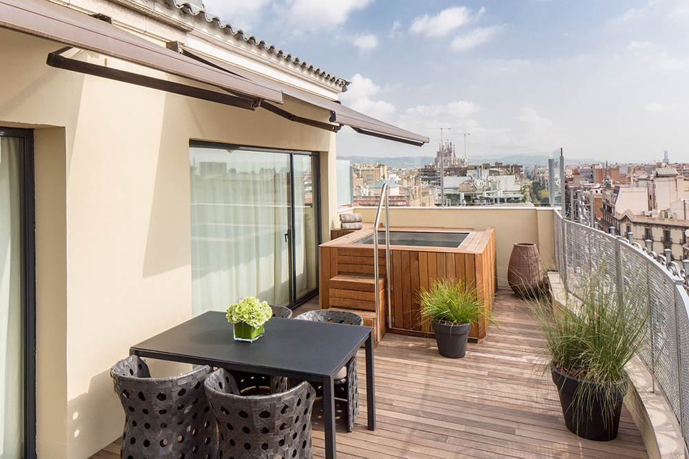 The terrace off the Penthouse at the Majestic Hotel & Spa