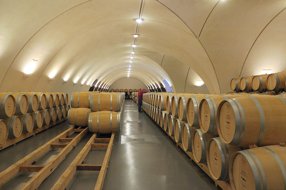 The barrel room of Château Lagrézette in Cahors, France - Photo by Hideaway Report editor