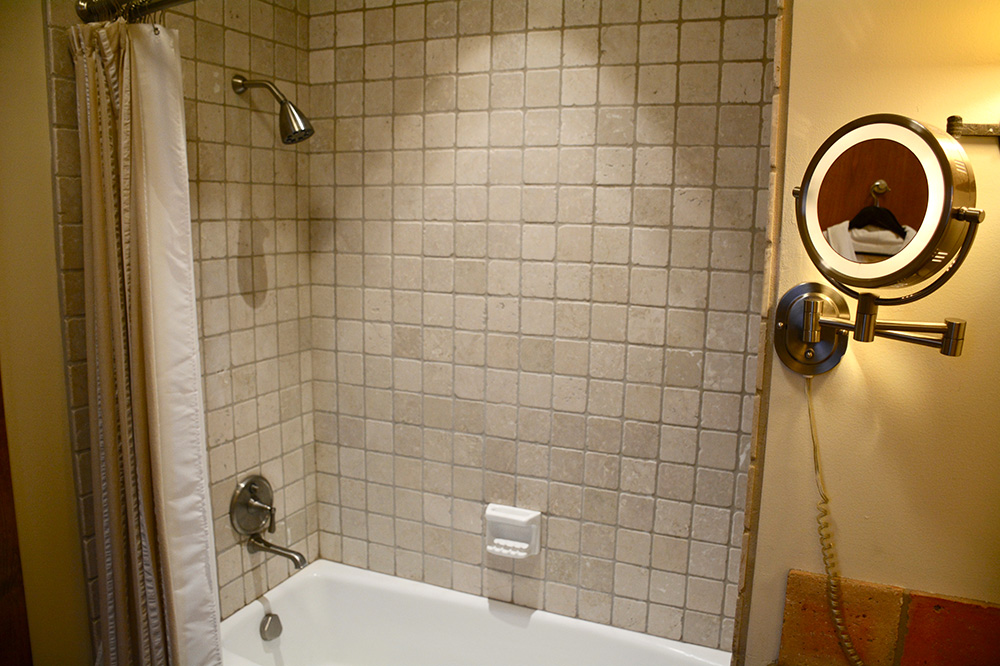 The bath in our Casita at The Inn at Dos Brisas - Photo by Hideaway Report editor