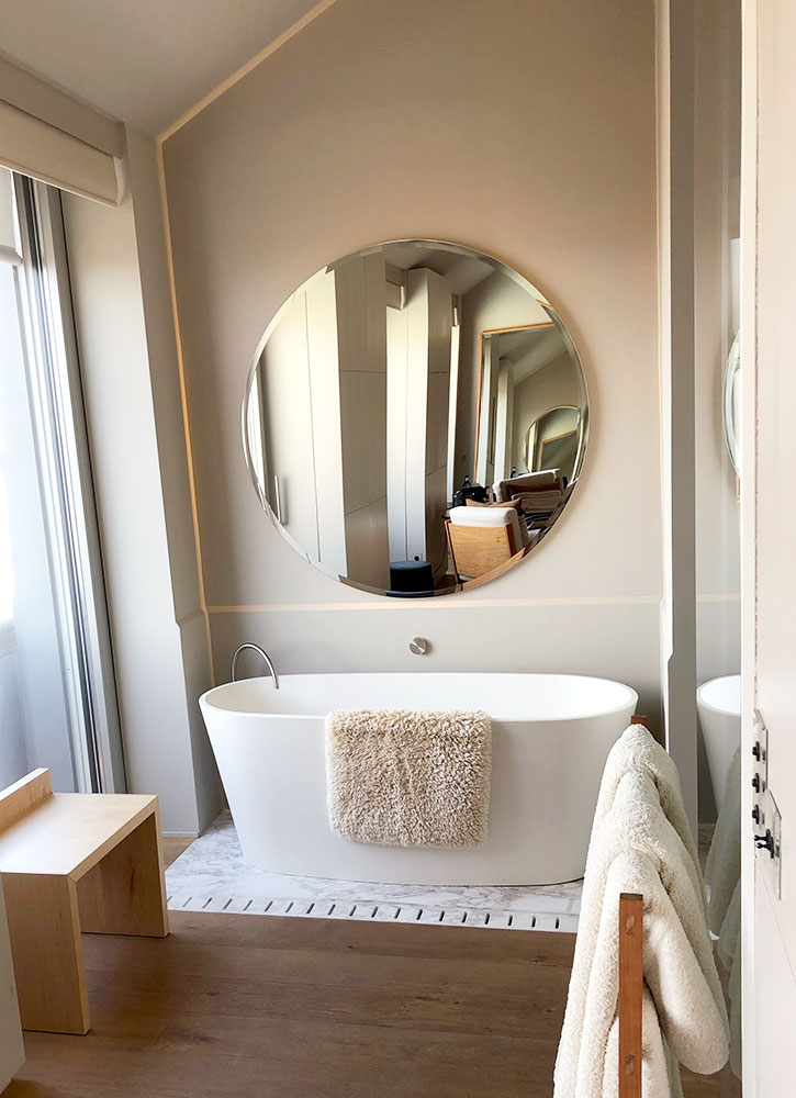 The bath of our Superior River View room at Verride Palácio Santa Catarina in Lisbon, Portugal - Photo by Hideaway Report editor