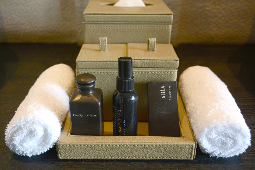 Toiletries in our room at Alila Jabal Akhdar