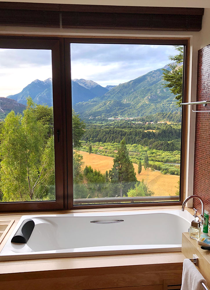 The bath of our suite at Uman Lodge in Futaleufu, Chile - Photo by Hideaway Report editor