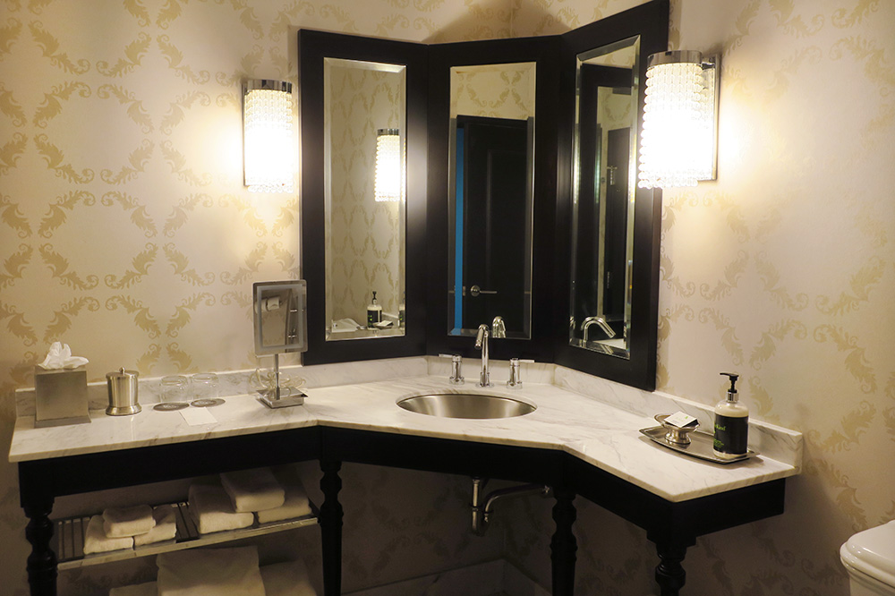 The bath of our Club Level room at The Nines in Portland, Oregon - Photo by Hideaway Report editor