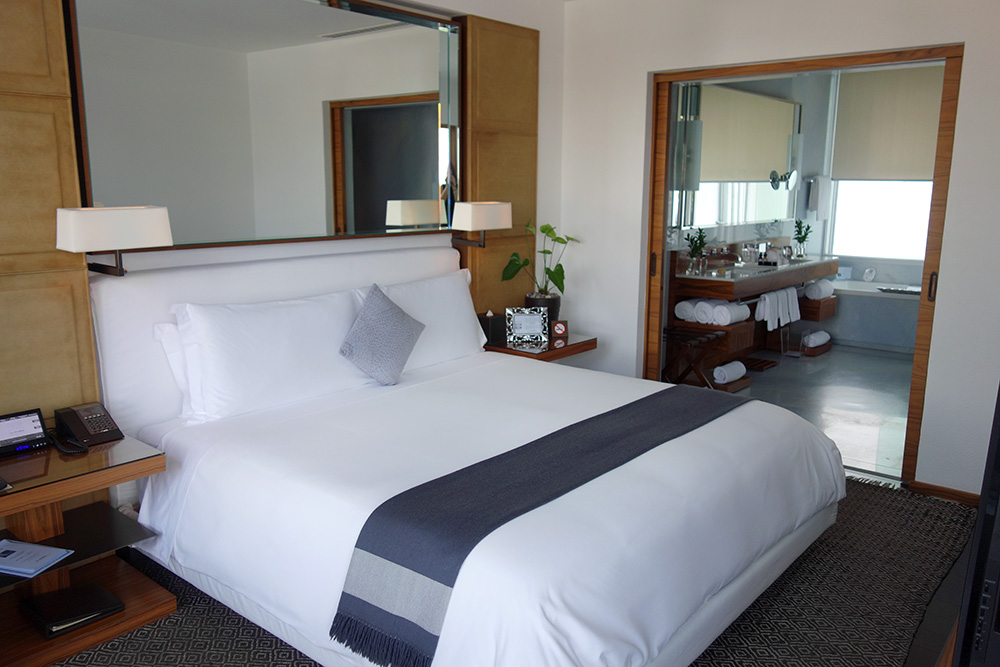 The bed of our Corner Suite at Las Alcobas, Mexico City