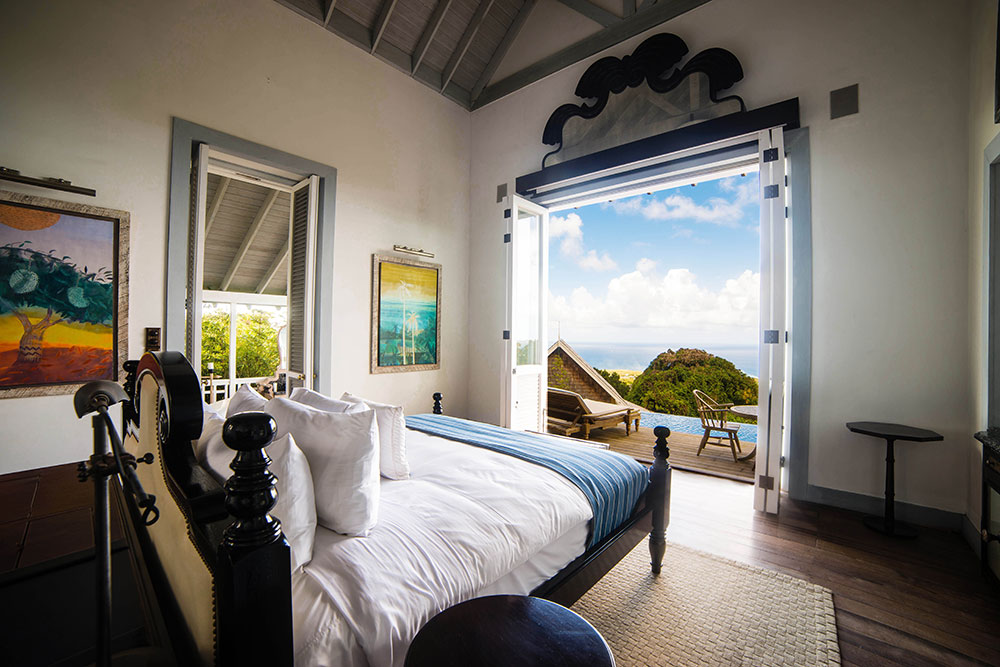 The cottage bedroom with seaview at Belle Mont Farm