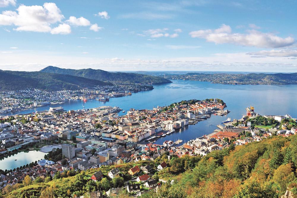 View of Bergen city from Mount Floyen