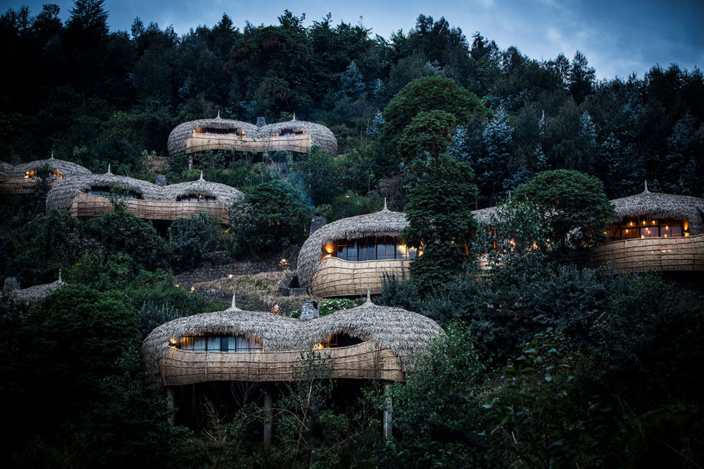Thatched villas at Bisate Lodge in Volcanoes National Park, Rwanda