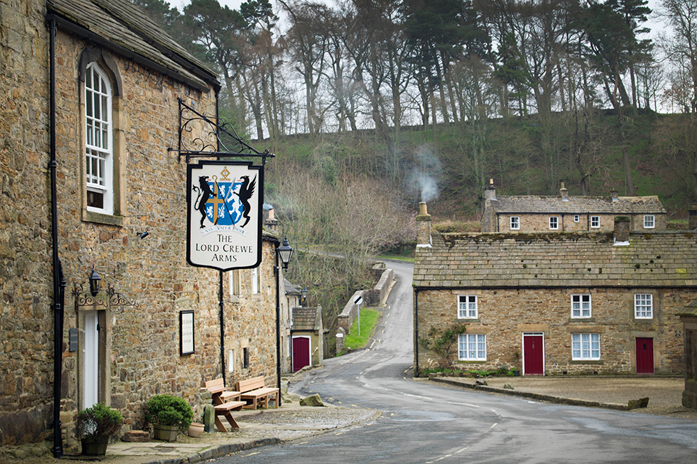 The exterior and street view of Lord Crewe Arms in Blanchland, England