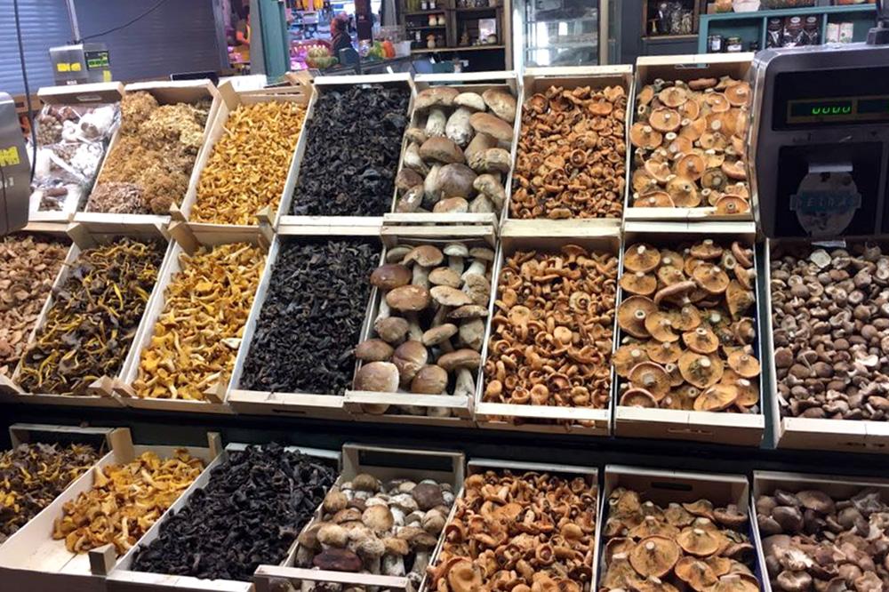 Mushrooms on display at the Bolets Petràs stand at La Boqueria