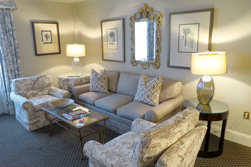 Living room in our suite at The Eliot Hotel - Photo by Hideaway Report editor