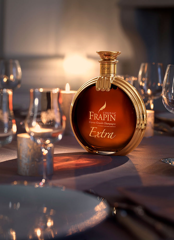 A bottle of Frapin Extra Grande Champagne Cognac from Cognac Frapin in Cognac, France - Cognac Frapin