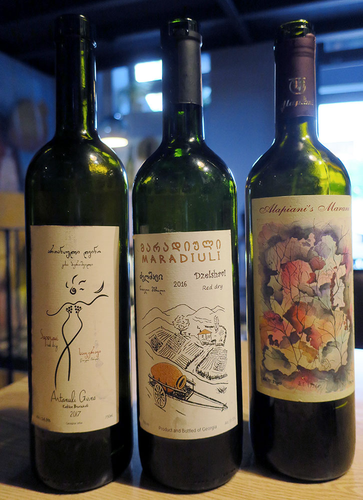 Antanuli Gvino Saperavi, rare Maradiuli Dzelshavi and Alapiani Tavkveri from g.Vino wine bar in Tbilisi, Georgia - Photo by Hideaway Report editor