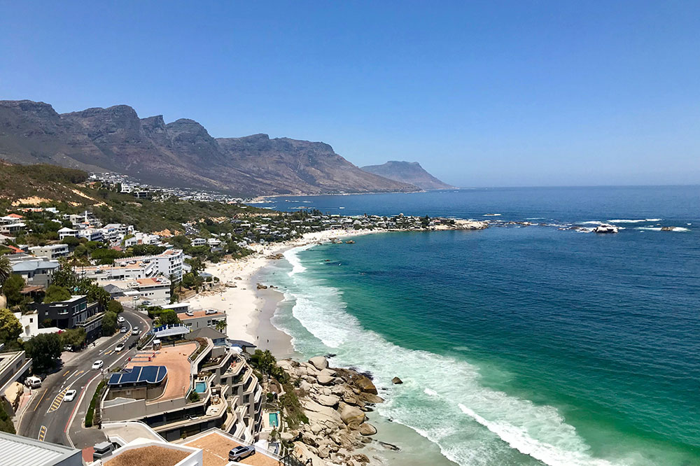 The view of the beach from Cape View Clifton in Cape Town, South Africa