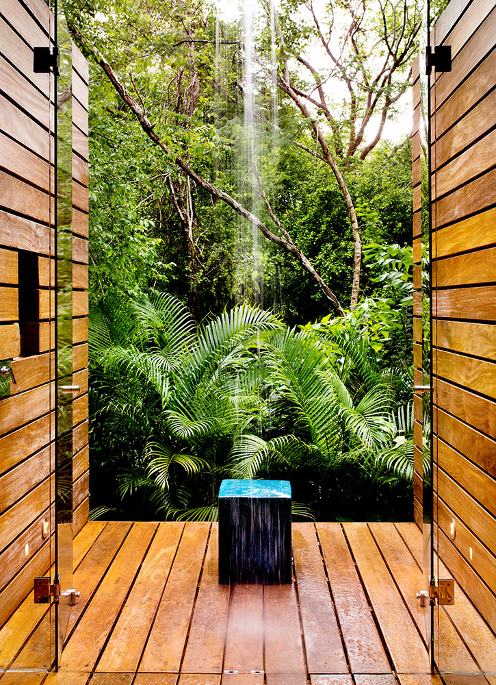 The shower in the bath of a casita at Chablé Resort in Chocholá, Mexico - Kenny Viese