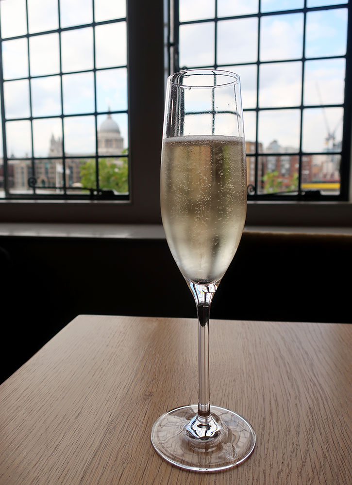 Chapel Down Classic Non-Vintage Brut from the Swan restaurant at the Globe in London - Photo by Hideaway Report editor