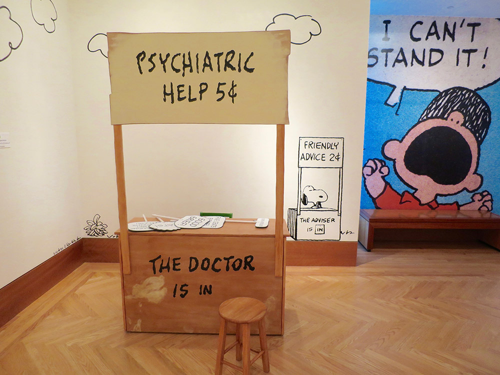"An installation of the psychiatric booth featured in the ""Peanuts"" comic strip at the Charles M. Schulz Museum"