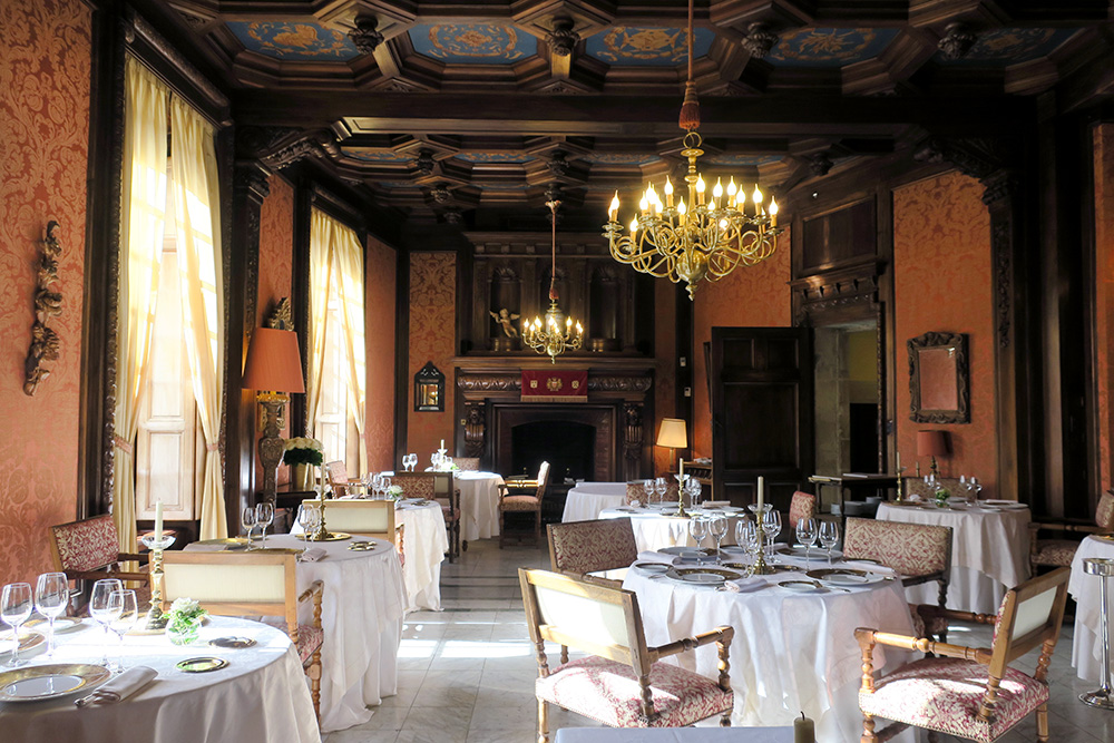 The grand Louis XIII dining room at Château de la Treyne in Lacave, France.