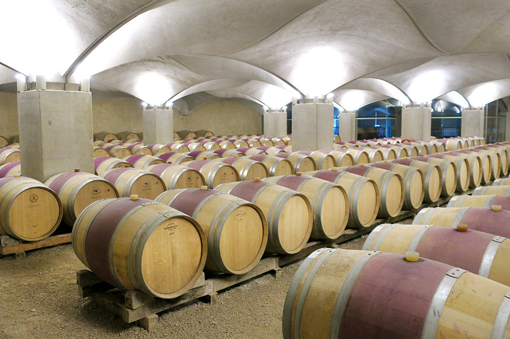 The underground cellar of the winery at the Château de Mercuès in Mercuès, France - Photo by Hideaway Report editor