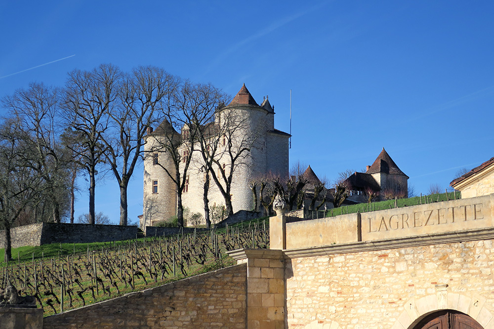 The vineyards and exterior of Château Lagrézette in Cahors, France - Photo by Hideaway Report editor